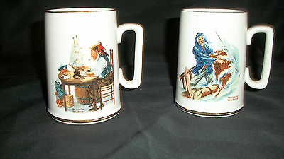 """Pair of NORMAN ROCKWELL MUGS~1985~Nautical~""""FOR A GOOD BOY""""&""""Braving the Storm"""