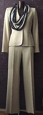 Refined Max Mara Beige Wool One Button Pant Suit Size It 40