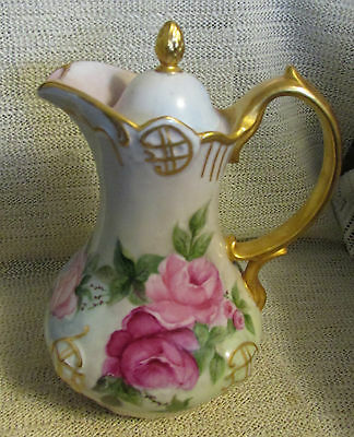 "Vintage.... 10"" Handpainted Pink Roses On Teapot Or Coffee Pot"