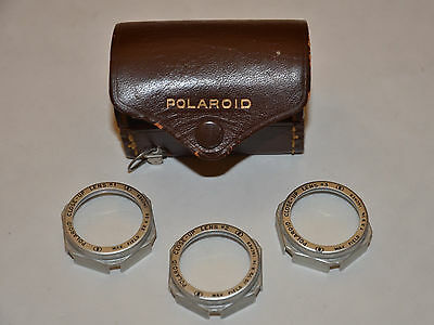Vintage Polaroid Lens Set  with  #1, #2, #3 Close Up Filters Leather Case Ruler