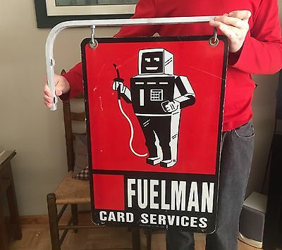 "16""X24"" Fuelman Double Sided Robot Sign w Flange : Gas & Oil Service Station"