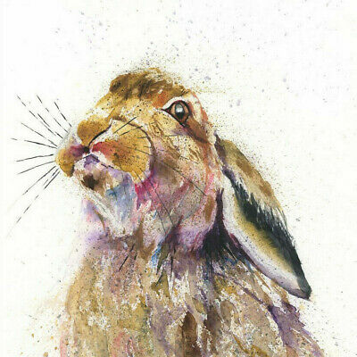 HELEN ROSE Limited Print GAZING HARE wildlife art watercolour painting   332