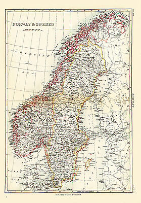 1874 Color Province Map of NORWAY & SWEDEN - Beautiful