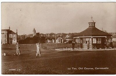 1st TEE, OLD COURSE, CARNOUSTIE ~ A VINTAGE REAL PHOTO POSTCARD ~ WITH A 1910 CA
