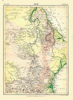 1876 Color Topographic Map of the NILE REGION - SUDAN & ETHIOPIA - Great Detail