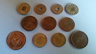 Lot of 11 Vintage New York, New Jersey Transit and Bridge Tokens