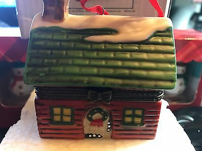 PLOW & HEARTH~CHRISTMAS Porcelain cabin ornament NIB from years back