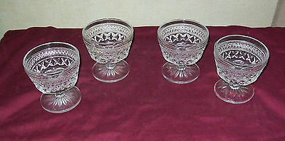 4 INDIANA GLASS PARK LANE Crystal Clear Stemmed Sherbet Glasses with Round Base