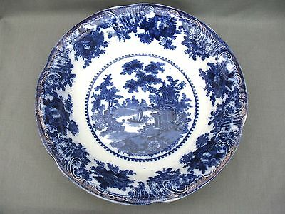 Large 19th Century Flow Blue Serving Bowl - Staffordshire