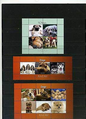 Malawi 2011 Fauna Dogs 3 Sheets Of 3,4 & 6 Stamps Mnh