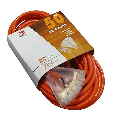 50-Foot Triple Tap 10 Gauge Extension Cord Lit Ends NEW 10/3 50 Ft Feet