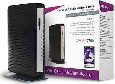 NETGEAR N450 WiFi DOCSIS 3.0 Cable Modem Router (N450-100NAS) NEW