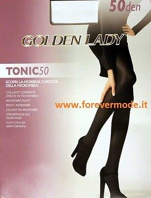2 Collant donna Golden Lady in microfibra coprente, cuciture comfort art Tonic50