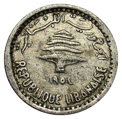 Lebanon 5 Piastres coin 1954 KM# 18 Lions heads VE01