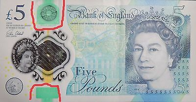 New Polymer Bank Of England £5 Five Pound Note AH30 (Misprint)