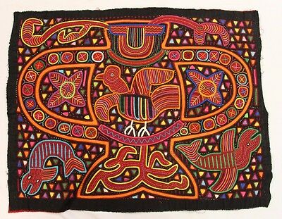 Vintage 1970s-1980s Two Layers Kuna Indian Mola from San Blas of Panama
