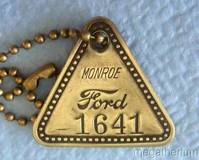 Uncommon Ford Tool Check Brass Tag: MONROE MICHIGAN Plant; Ford Motor Co