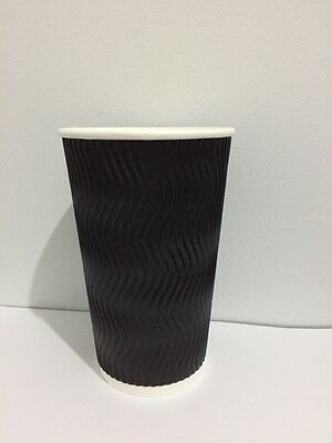 100set 16 oz Black Triple Ripple Wall Disposable Paper Coffee Cups and Lids