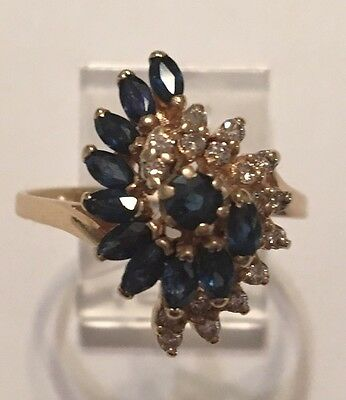 Vintage 14K Yellow Gold Blue Sapphire & Diamond Cocktail Cluster Ring