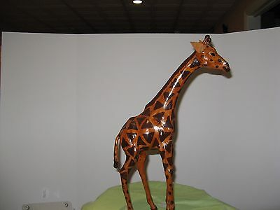 "Giraffe 18"" Tall Leather Covered/ Wrapped African Giraffe Figure/Statue EUC"