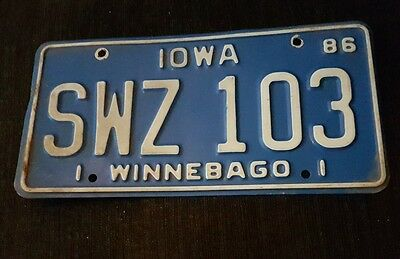 Old USA Iowa Winnebago American Licence Number Plate - Registration License tag