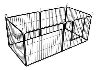 BUNNY BUSINESS Heavy Duty 6 Panel Puppy Play Pen/ Rabbit Enclosure, Large, Gunme