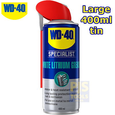 WD40 400ml high performance white lithium spray grease * Large can size WD-40 *