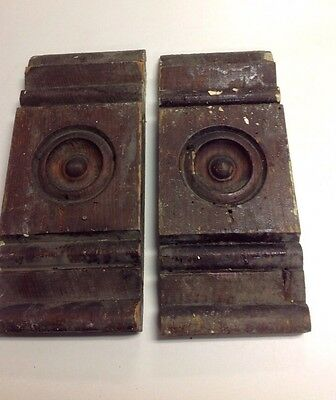2 Antique Rosette Wood Door Plinth Blocks Architectural Salvaged Bulls Eyes Old
