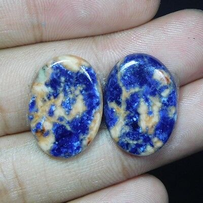 21.35Cts 100% NATURAL AWESOME SODALITE PAIR OVAL 22X16 LOOSE CAB GEMSTONE PK051