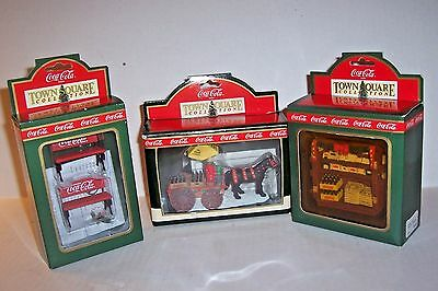 3 Coke Cola Town Square Accessories Park Bench,Newsstand,Horse Drawn Wagon 1992