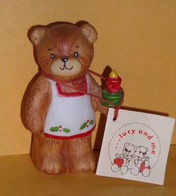 LUCY & ME Christmas Figurine BEAR with CANDLE Lucy Rigg w/ Tag FREE SHIP