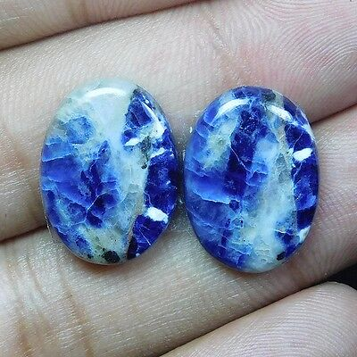 16.95Cts 100% NATURAL AMAZING SODALITE PAIR OVAL 19X14 LOOSE CAB GEMSTONE PK093