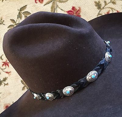 Handmade Black Usa Navajo Sterling Concho Western Hat Band Belt W Turquoise