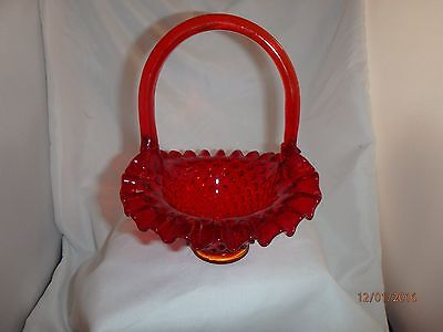 Hobnail Basket with Handle ~ Ruby Red and Amberina Color