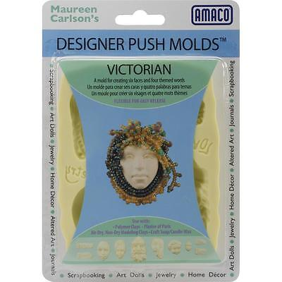 """AMACO Designer Silicone Push Mold """"VICTORIAN"""" Faces &  Words JEWELRY ART DOLLS +"""