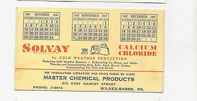 Vintage Wilkes Barre Pa Master Chemical Products Ink Blotter 1947