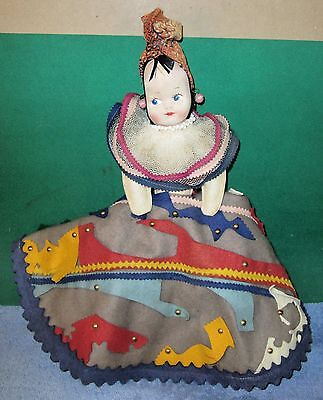 Vintage Cloth Antique Doll - Felt Dress Nicely Decorated