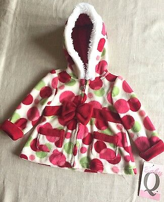 Baby Q GIRLS Adorable  Hooded Fleece Jacket- NEW WITH TAGS Size 12 Months