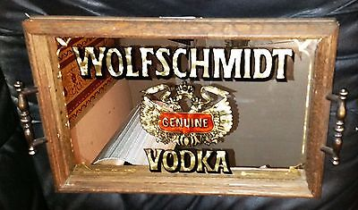 Vintage Wolfschmidt Vodka Bar Mirror TRAY 1970s Wood Framed EUC