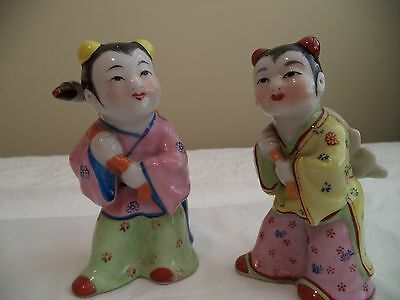 Famille Rose Chinese Porcelain Statues Figurines Pair Midcentury Girls