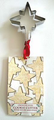 Stainless Christmas Star Cookie Cutter w/ Recipe & Religious Poem Card