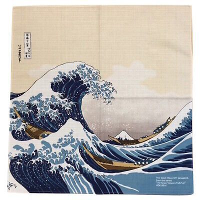 F/S Japanese Furoshiki Wrapping Cloth Hokusai Ukiyoe Great Wave Mt. Fuji