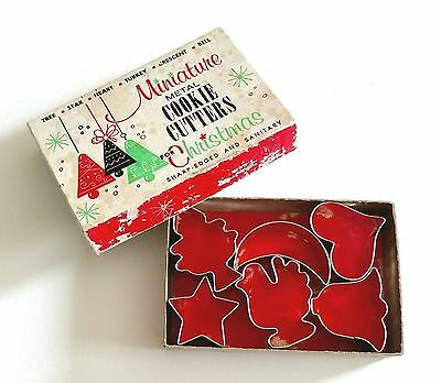 Vintage Box of 6 Holiday Christmas Cookie Cutters  Tree Star Bell Heart & More