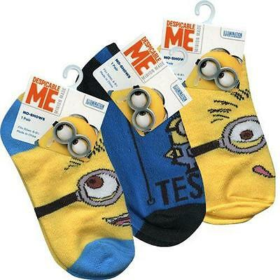Despicable Me Minions Kids Anklet Socks 3 Pack Size 6-8.5 No Show Low Cut