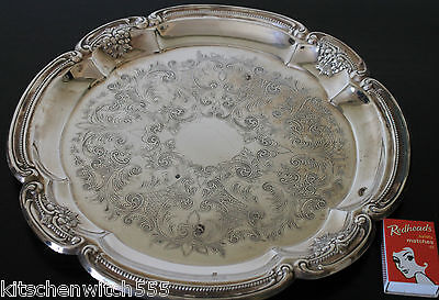 Art Deco Floral Etched Tray Serving Drinks Embossed Grapes Scallop Edge Vintage