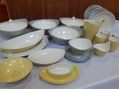 Vintage 70s dishes Gray and creamy yellow 22 pc