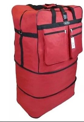 "40"" Red Rolling 6 Wheeled Duffle/Duffel Bag/Spinner Suitcase Luggage Expandable"