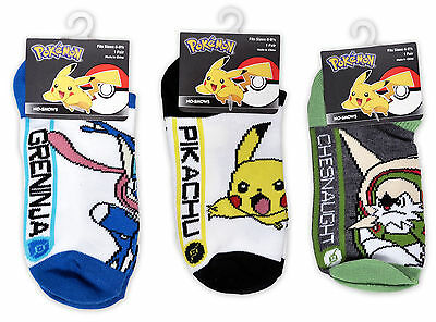 Pokemon Characters Kids Ankle Socks Size 6-8.5 (3 Pack)