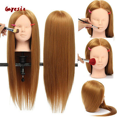 """28"""" Hairdressing Hair Training Mannequin Head Model Makeup Practice With Clamp"""