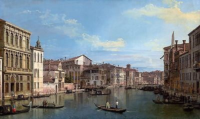 Canaletto, Grand Canal in Venice from Palazzo, HD Museum Poster or Canvas Print
